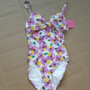 Kate Spade white floral one piece bathing suit-XS